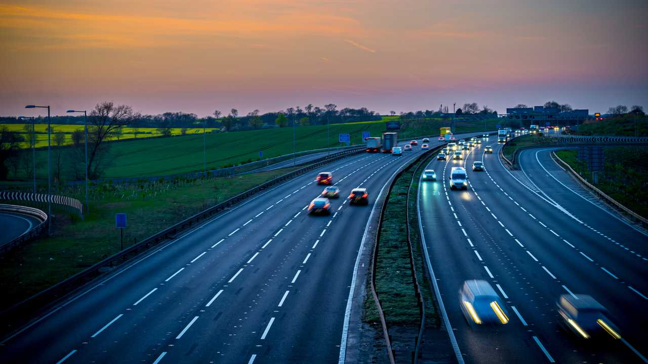 M1 motorway near Flitwick junction with colourful sunset