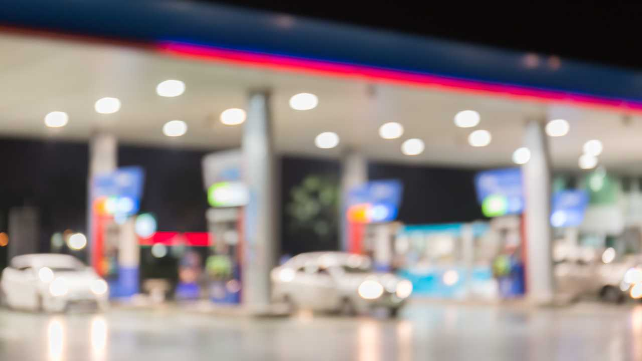 Petrol station blurred